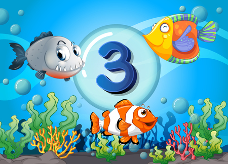 Flashcard number three with 3 fish underwater illustration Illustration