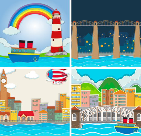 rural area: Four scene of city and countryside illustration Illustration