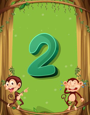 matematica: El número dos con 2 monos en la ilustración del árbol