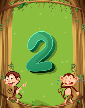 numbers background: Number two with 2 monkeys on the tree illustration