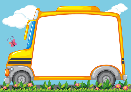 schoolbus: Border design with schoolbus in garden illustration