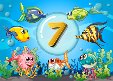 Flashcard number seven wit 7 fish underwater illustration