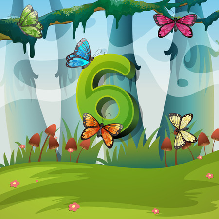 Number six with 6 butterflies in garden illustration