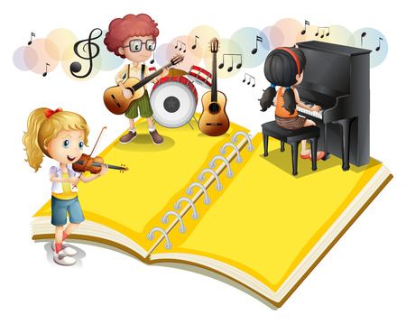 drumset: Children playing musical instrument illustration
