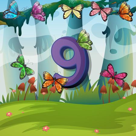 Number nine with 9 butterflies in garden illustration