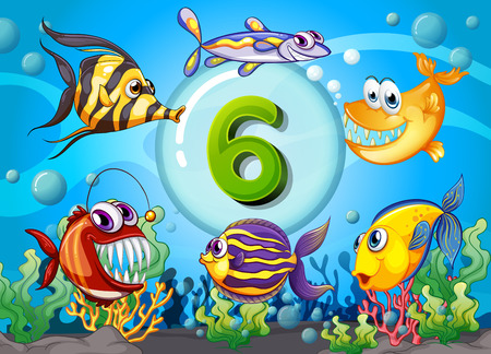numbers background: Flashcard number six with 6 fish underwater illustration Illustration