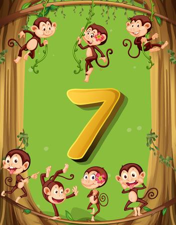 nombres: Le numéro sept avec 7 singes sur l'illustration de l'arbre