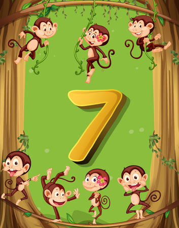 numbers background: Number seven with 7 monkeys on the tree illustration Illustration