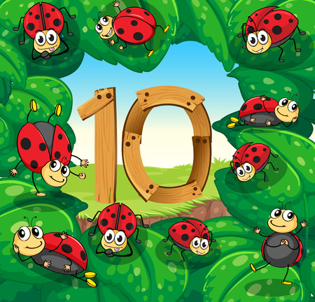numbers background: Number 10 with 10 ladybugs on leaves illustration
