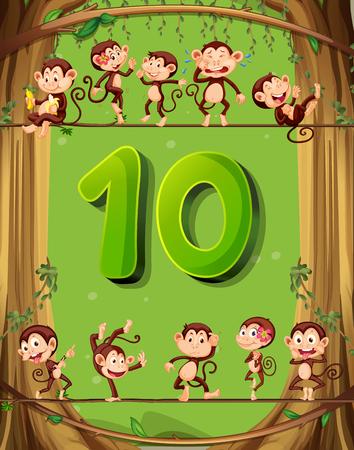 numero diez: El número diez con 10 monos en la ilustración del árbol
