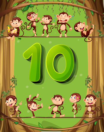 numbers background: Number ten with 10 monkeys on the tree illustration