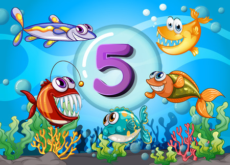 numbers set: Flashcard number 5 with 5 fish underwater illustration Illustration