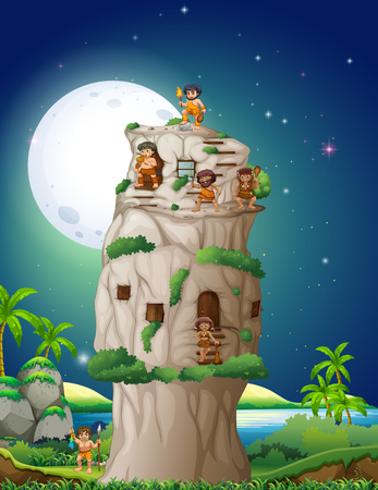 stone age: Cave people living in the stone house illustration