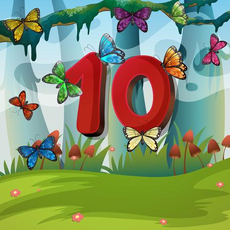 numero diez: El número diez con 10 mariposas en la ilustración jardín