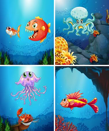 underwater fishes: Four scenes of sea animals in the sea illustration