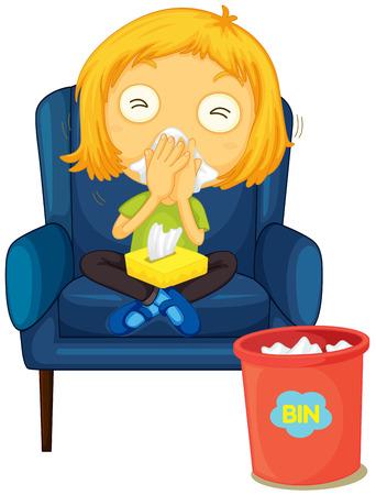 running nose: Girl having running nose  illustration