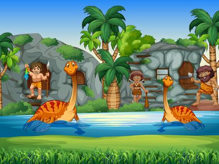 Hombres de las cavernas y los dinosaurios que viven juntas ilustración