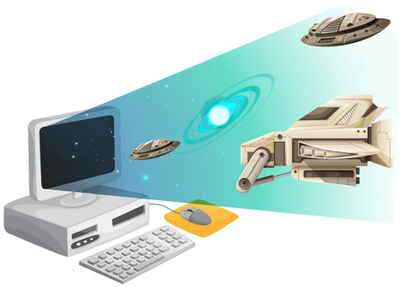 unidentified: Computer screen with spaceships in the space illustration Illustration