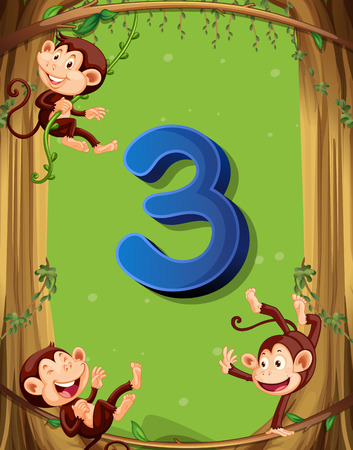 numbers background: Number three with 3 monkeys on the tree illustration