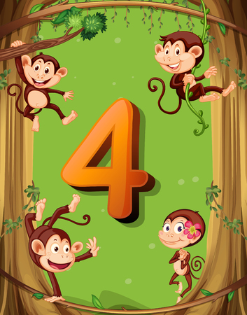 numbers set: Number four with 4 monkeys on the tree illustration