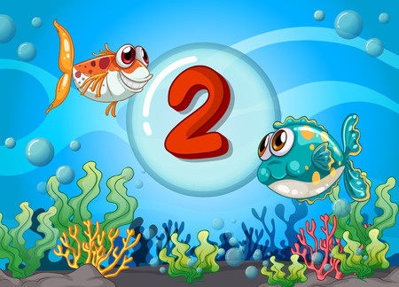 numbers background: Card number two with 2 fish underwater illustration