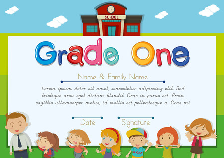 children background: Diploma template with teacher and children in background illustration