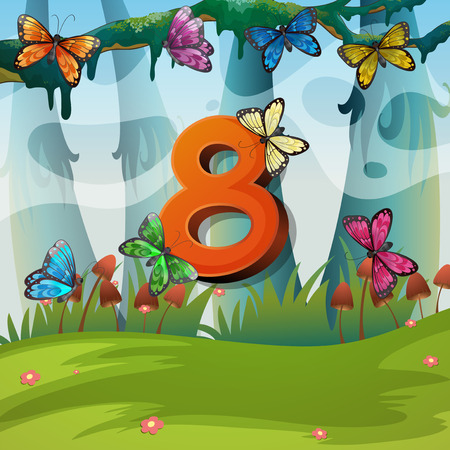 numbers: Number eight with 8 butterflies in garden illustration