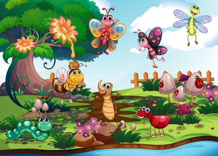 campo de flores: Mariposas y los insectos en el huerto ilustración Vectores