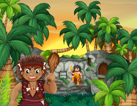 family outside house: Cave people living in the forest illustration Illustration