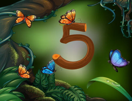 math set: Number five with 5 butterflies in the garden illustration