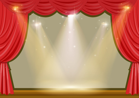 concert hall: Empty stage with red curtain and lights illustration Illustration