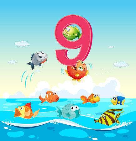 school of fish: Number nine with 9 fish in the ocean illustration Illustration