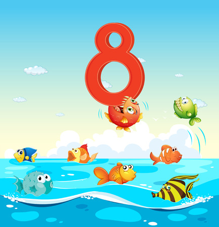 number eight: Number eight with 8 fish in the ocean illustration