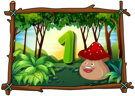 learning series: Number one with 1 mushroom smiling illustration