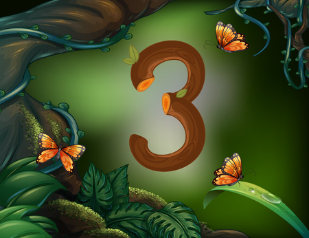 image background: Number three with 3 butterflies in the garden illustration