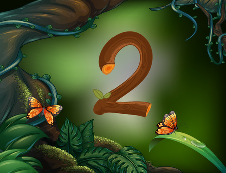 math set: Number two with 2 butterflies in the garden illustration