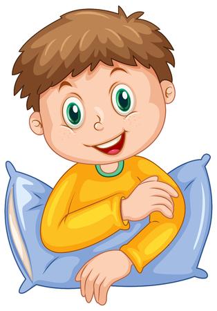 slumber party: Boy with happy face illustration Illustration