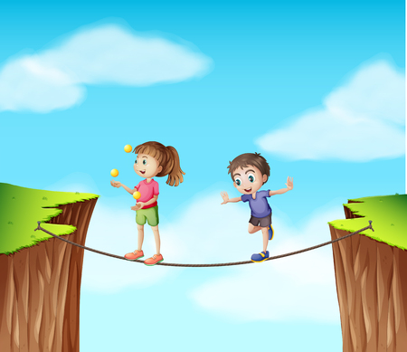 bluff: Boy and girl on the rope at the cliff illustration