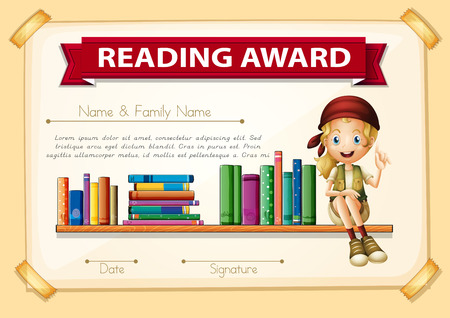 Reading award with girl and books illustration