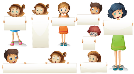 small group of objects: Boys and girls with blank sign illustration