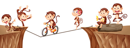 cliffs: Monkeys playing on the rope illustration