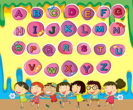 phonetic: English alphabets with children background illustration