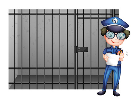 prison cell: Prison cell and poliman illustration
