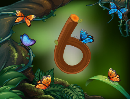 image background: Number six with 6 butterflies in the garden   illustration