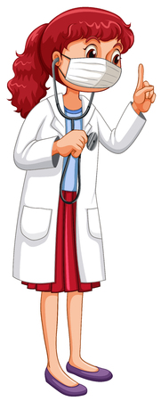 grownup: Doctor with mask and stethoscope illustration