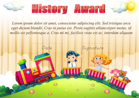 children clipart: Certificate template with children on the train illustration Illustration