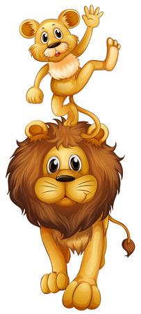 carnivorous: Little cub standing on lions head illustration