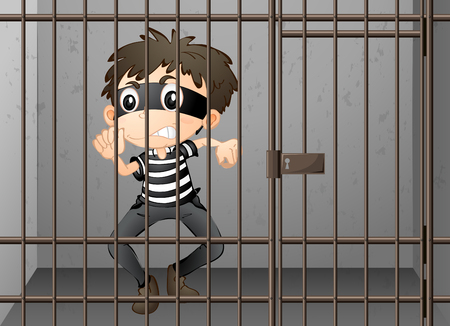 theif: Criminal being locked up in the prison illustration Illustration