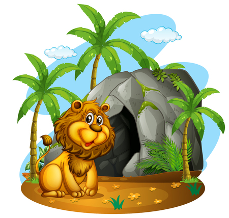 Lion sits in front of cave illustration Illustration