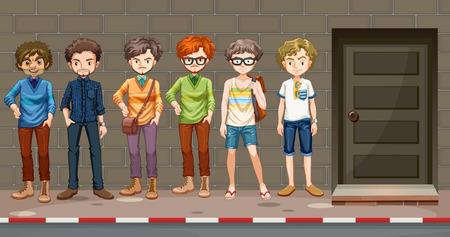 art door: Men standing in front of the building illustration